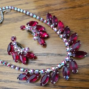 Red Iridescent 1950s Necklace and Earrings Set